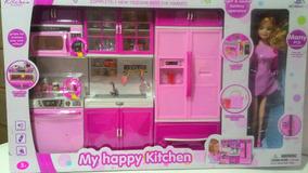 Kit Cozinha Infantil 3 Modulos Com Boneca Pronta Entrega