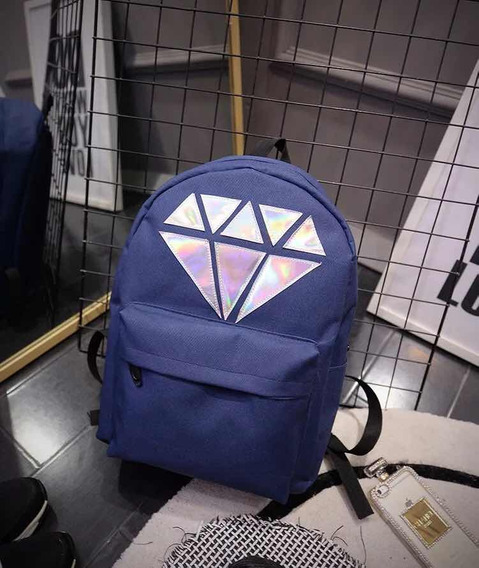 Mochila Diamante Con Bolsillo Frontal Varios Colores