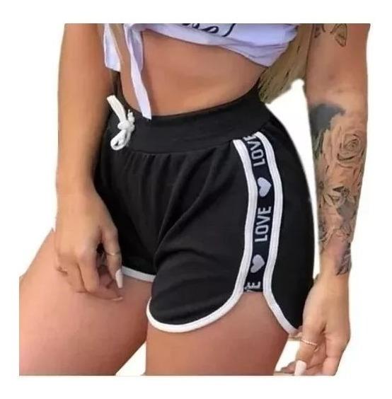 Shortinho Shorts Feminino Veludo Love Curto Cintura Alta