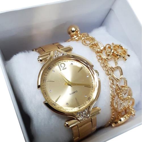 Relógio Feminino Dourado Com Pulseira Presente Barato