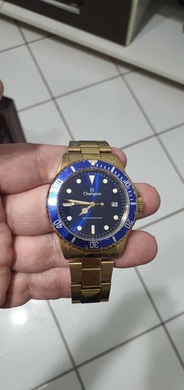 Relógio Champion Masculino Quartz Dourado Fundo Azul