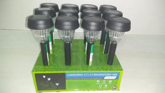 Luminaria Solar Balizadora Led Jardim Ecoforce Kit 12 Peças