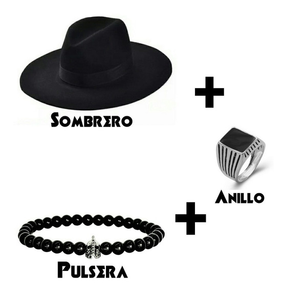 Combo Sombrero Ala Ancha Unisex +anillo + Pulsera Espartana