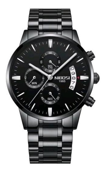 Relógio Nibosi Original Masculino Funcional Preto Prata