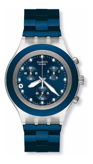 Relogio Swatch Svck4041ag Full Blooded Azul Novo Original