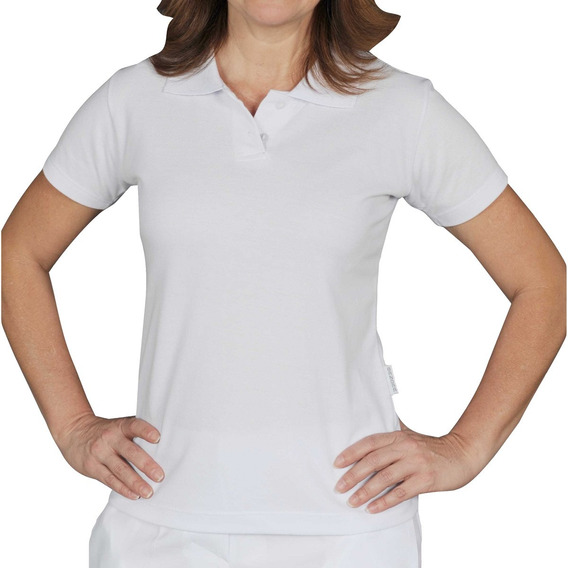 Camiseta Polo Piquet Feminina Branca Manga Curta Bu26