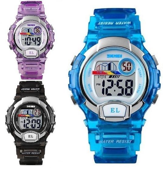 Reloj Skmei Digital Niños Y Niñas Luz Colores Sumergible1450
