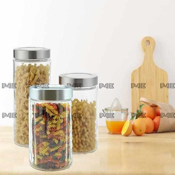 Set Frascos De Vidrio Tapa Aluminio Hermetico X 3u - Cocina