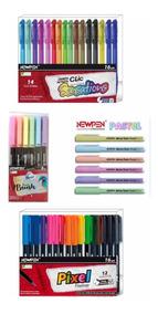 Kit Canetas Newpen-brush/fineliner/gel/marca Texto Pastel
