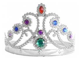 6 Tiaras De Princesa Plástica Corona Plateada Carioca