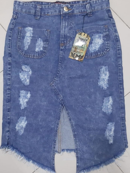 Linda Saia Jeans Midi Destroyed Com Elastano
