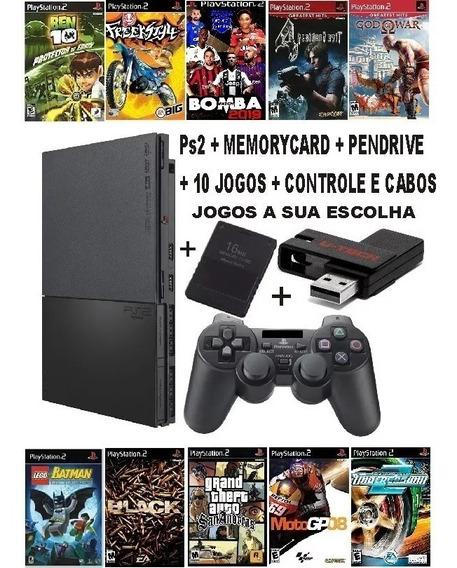 Playstation 2 Ps2 Slim Semi-novo + Pendrive 32gb + 10 Jogos