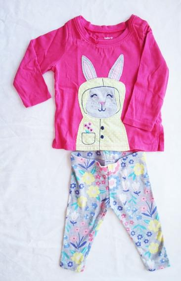 Conjunto Carters Camiseta + Calza 6 Meses Conejo