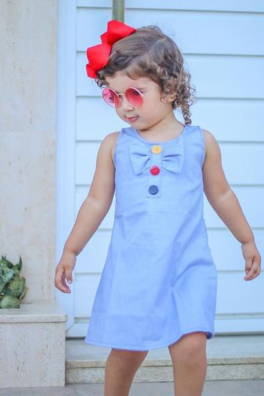 Vestido Jeans Infantil Feminino Kit C/ 5 Peças