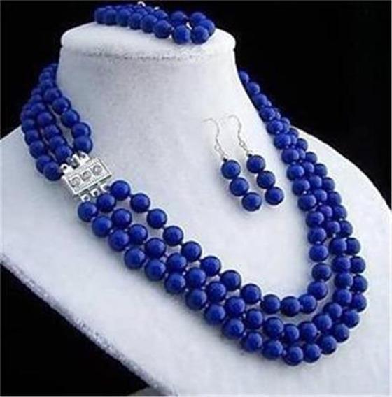 Colar Lapis Lazuli 3 Volta 8 Mm. Conjunto Brincos E Pulseira