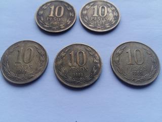 Monedas Antiguas 10 Pesos Chile Angel Libertad 1982/84/89