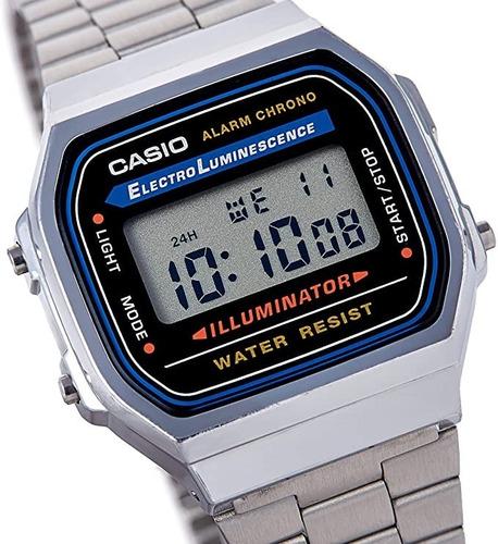 Relógio Casio Unissex A168 Retrô Vintage Prata Original