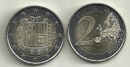 Moneda Andorra 2 Euro Año 2014 Bimetalica Sin Circular