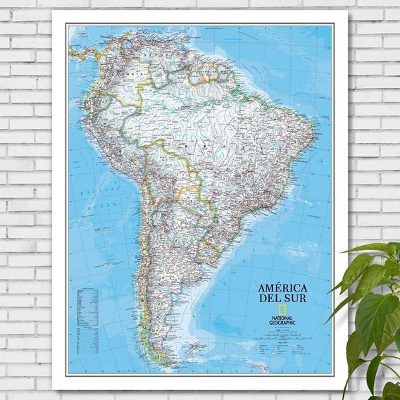 Mapa Político América Del Sur 78cmx61cm