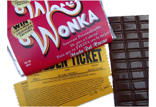 Imagen 1 de 7 de Combo D 20 Souvenir Chocolate T/wonka Con 5 Ticket Doble Faz