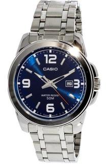 Reloj Casio Hombre,fondo Azul,cristal Mineral,sumergible.