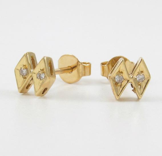 Brincos Design Cravejado Com Diamantes Ouro Amarelo 18k 750.