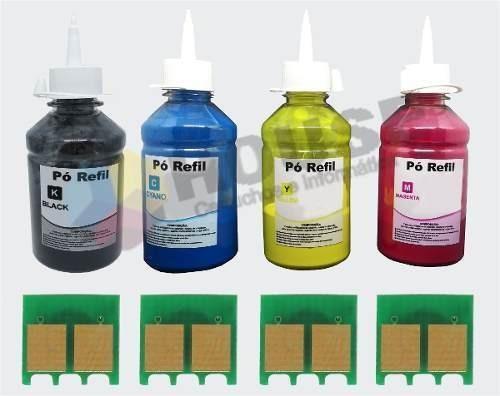 Kit 4 Cores Refil Toner P/ Cf350 351 352 353 + Chip