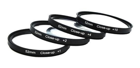 Kit Filtros 52mm Close Up Hd +1+2+4+10 P/ Sony Canon Nikon