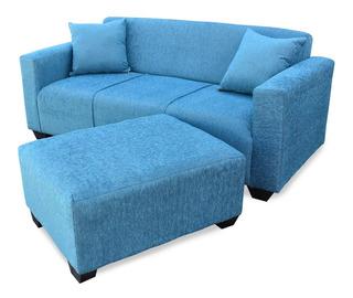 Sillon Sofa 3 Cuerpos Esquinero + Puf Camastro De 80 Living
