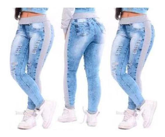 Calça Jeans C Detalhe De Moletom Feminina Punho Ribana