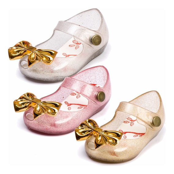 Kit 3 Sapatos Sapatilha Feminina Tipo Melissa Baby Laço