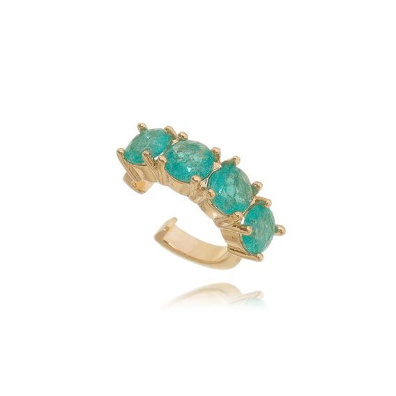 Piercing Falso Semijoia Ouro Rosé Com Pedra Turmalina Fusion