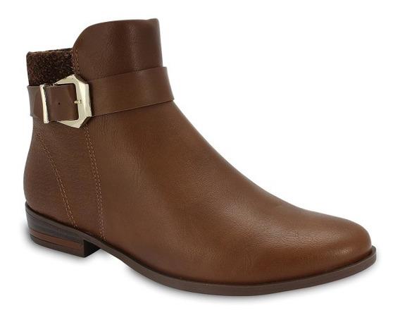 Bota Ankle Boot Ramarim Fivela E Textura Original