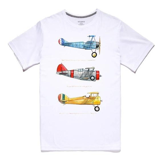 Envío Gratis Playera Aviones Vintage Clasico Planos Unisex