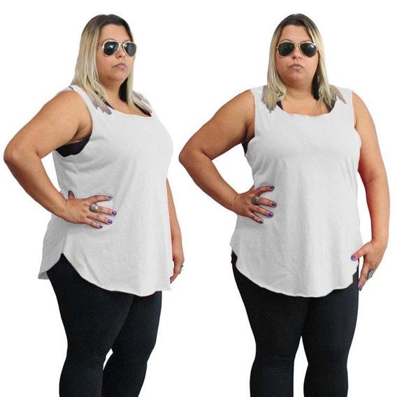 Plus Size Blusinha Camiseta Cavada Regata Blusa Promoção Top