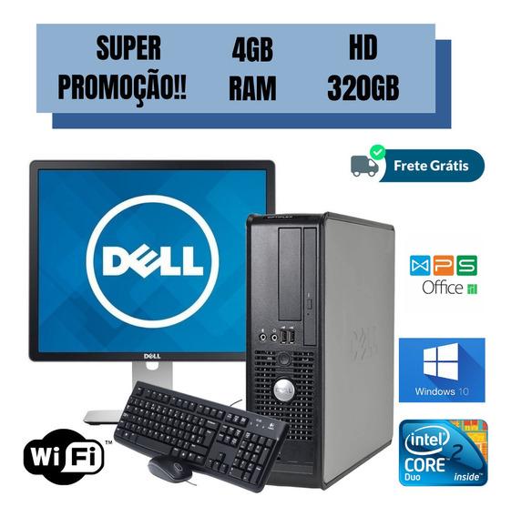 Cpu Dell Core 2 Duo 4gb Ram 320gb Win10 Monitor 19 Brindes