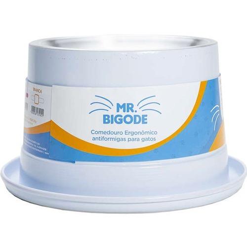 Comedouro Ergonômico Gatos Mr. Bigode Antiformigas Branco P