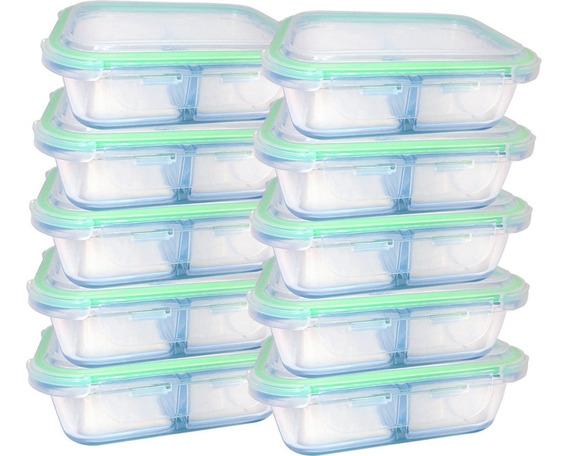 Kit 10 Potes De Vidro Hermético Para Alimentos Marmita
