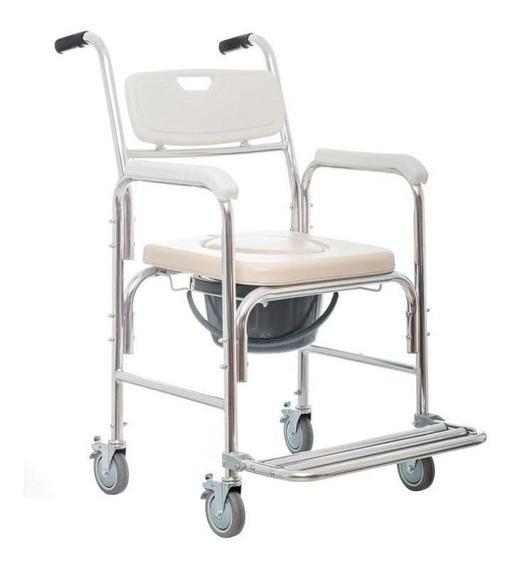 Silla De Traslado Para Baño Con Cómodo De Aluminio 100 Kg -