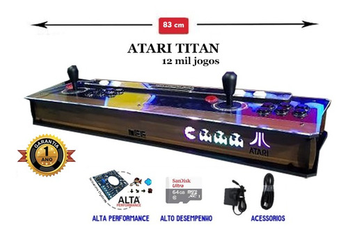 Imagem 1 de 4 de Fliperama Portátil Atari Titan 83cm, Sensor, Bt, 12mil Jogos