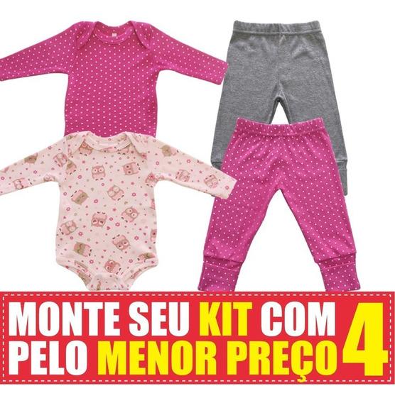 Kit Body E Calça Em Malha 100% Algodão Maxi Baby - Kit 4pçs