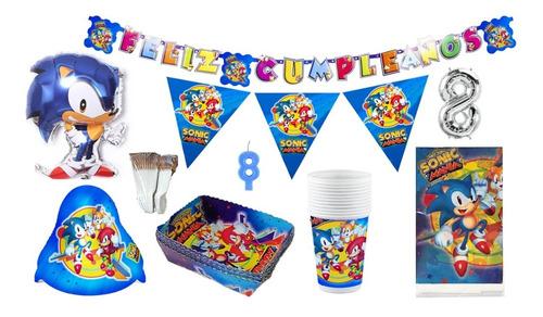 Kit Decoración Fiesta Infantil Sonic Manía 12 Personas