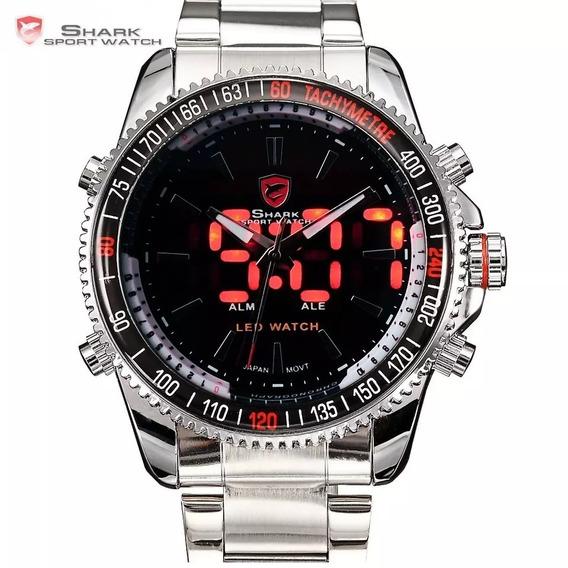 Relógio De Luxo Shark Em Aço Inoxidável Sh003
