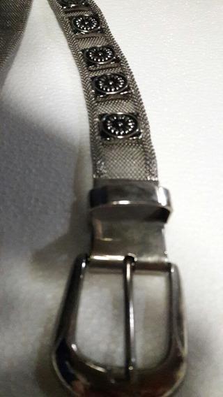 Cinturon Metalico Plateado Y Dos Mas De Regalo.