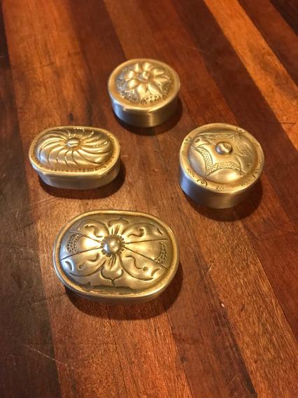 4 Mini Baús De Prata Feitos À Mão