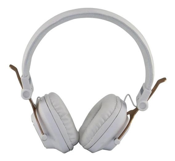 Fone Headphone Metal Wireless - Branco C/ Dourado - A-860