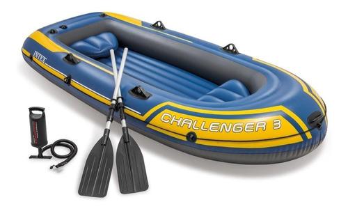Bote Inflável Challenger 3 Intex 3 Pessoas Com Remos E Bomba