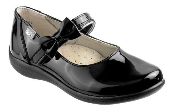 Zapato Rilo Para Niña Charol Negro & Piel Contac E-1712***