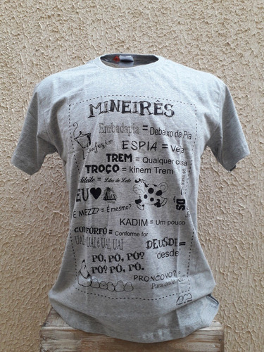 Camiseta Mineirês... Cor Cinza Mescla
