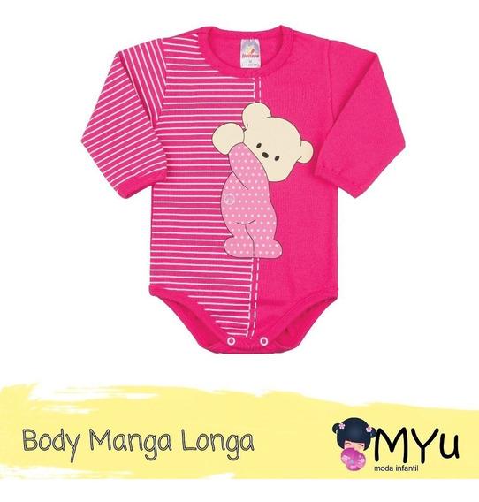Body Bebê Manga Longa Ursinho